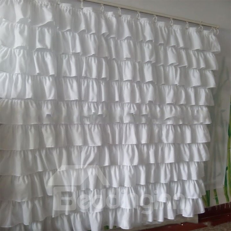 Lace Trimming Waterproof Polyester Pure White Shower Curtain