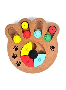 A Paw or Bone-shaped Wooden Multifunctional Educational Pet Toy