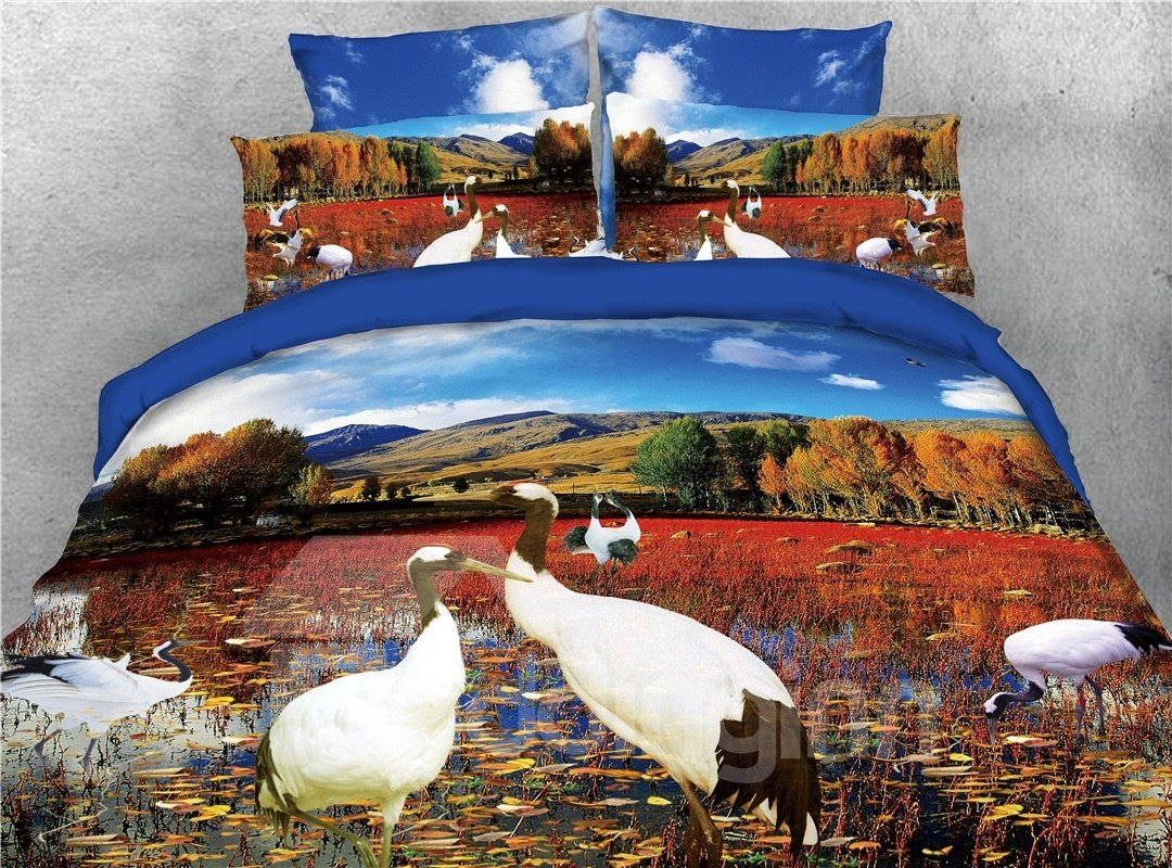 Cranes Lake and Mountain Printed 4-Piece 3D Bedding Sets/Duvet Covers