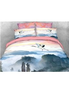 Flying Crane and Mountains Printed 4-Piece 3D Bedding Sets/Duvet Covers