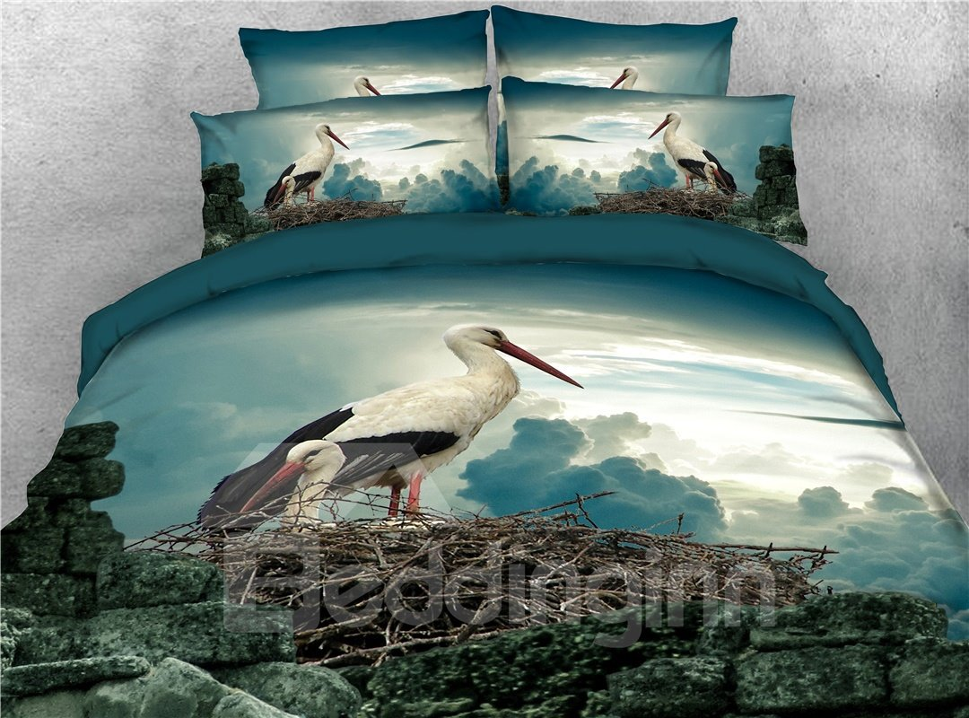 Crane Animal Printed 4-Piece 3D Bedding Sets/Duvet Covers
