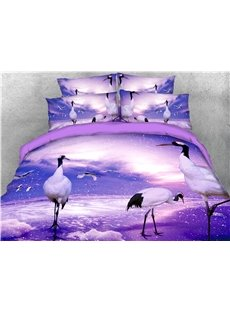 Crane Digital Printed Purple 4-Piece 3D Bedding Sets/Duvet Covers