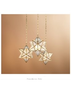 Shining Diamond Creative Retro Copper and Glass Ceiling Pendant Light