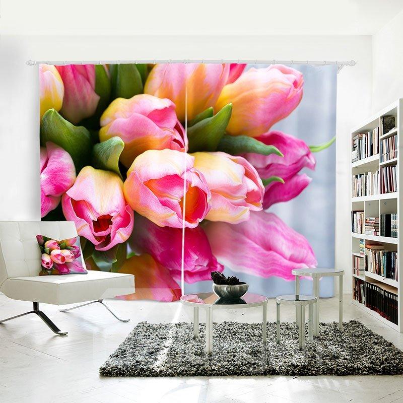 3D Waterproof Floral Pattern Digital Printing Curtain