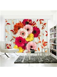 3D Waterproof Spring Flower Pattern Digital Printing Curtain