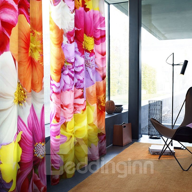 3D Blackout Beatiful Floral Pattern Digital Printing Curtain