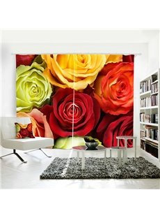 3D Blackout Beautiful Rose Pattern Digital Printing Curtain