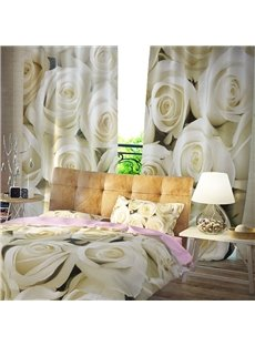 3D Blackout Romantic White Rose Pattern Printing Curtain