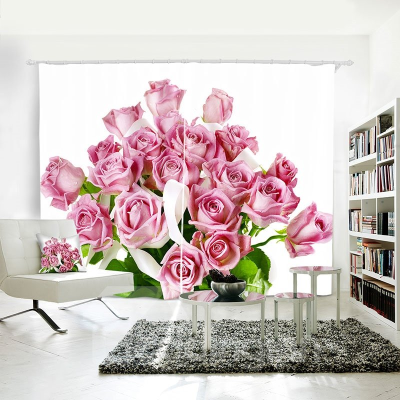 3D Blackout Pink Flowers Pattern Printing Curtain