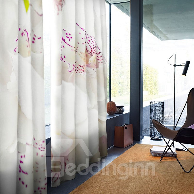 3D Blackout Butterfly Flowers Pattern Printing Curtain For Living Room