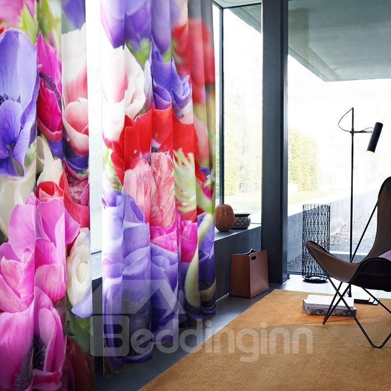 3D Waterproof Vintage Romantic Flowers Pattern Printing Curtain For Living Room