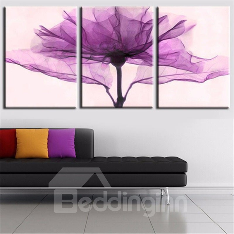 Waterproof Purple Flower Pattern 3 Pieces Hanging Canvas Framed Wall Prints