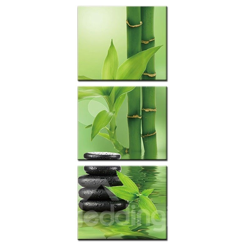 Waterproof Eco-friendly Bamboo and Stone Pattern 3 Pieces Hanging Canvas Framed Wall Prints