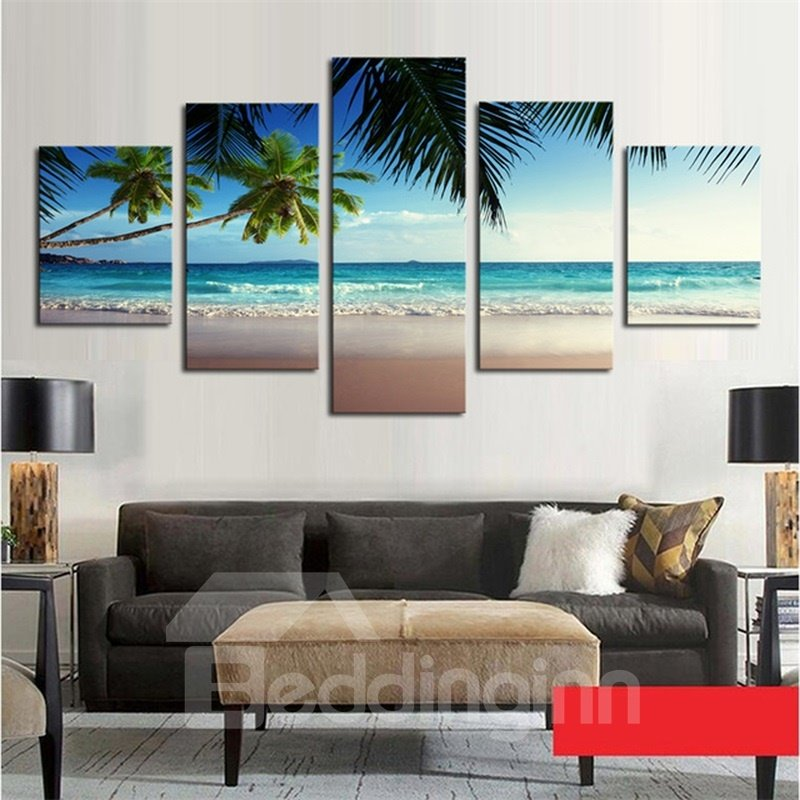 Waterproof Sea and Coconut Trees Pattern 5 Pieces Hanging Canvas Eco-friendly Framed Wall Prints