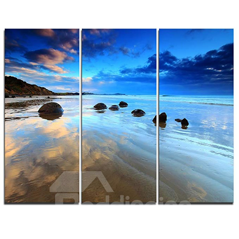 Waterproof Creative Blue sky and sea Pattern 3 Pieces Hanging Canvas Framed Wall Prints