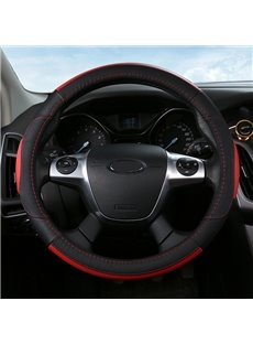 Leather Material Color Block Business Style Steering Wheel Cover