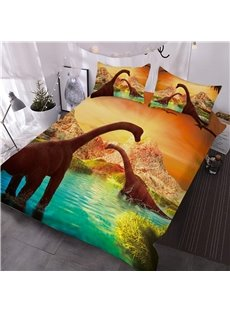 Brachiosaurus Dinosaurs Walking in Water Landscape 3D 3-Piece Comforter Sets