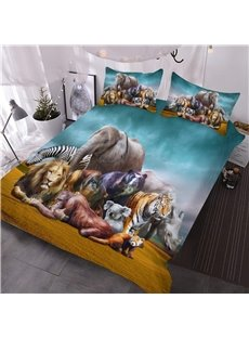 Natural African Safari Animals Printed 3D 3-Piece Comforter Sets