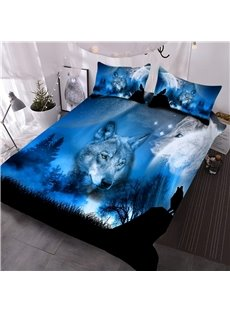 Wild Wolf and Natural Scenery Printed 3-Piece 3D Comforter Sets