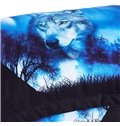 Wild Wolf And Blue Natural Scenery Printed 3-Piece 3D Comforter Sets