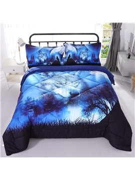 Wild Wolf And Blue Natural Scenery Printed 3-Piece 3D Comforter Sets Polyester