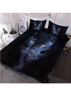 Wild Panther Printed 3-Piece Black 3D Comforter Sets