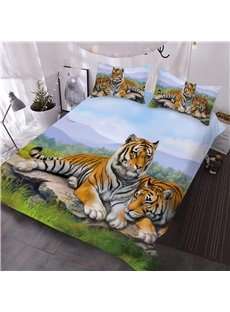 Snuggling Tigers Printed 3-Piece 3D Animal Comforter Sets