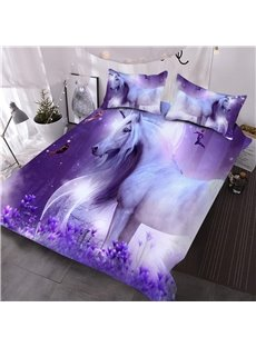 Girl Unicorn 3D Printed All Season Purple 3-Piece Comforter Sets