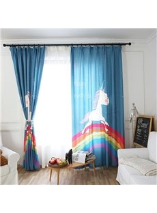 Blackout Cute Cartoon Unicorn Pattern Polyester Fabric Curtain