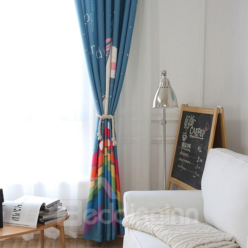 Blackout Cute Cartoon Unicorn Pattern Polyester Fabric Curtain