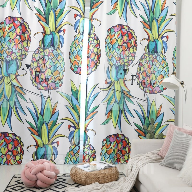 Waterproof Tropical Fruit Pineapple Polyester Fabric Curtain