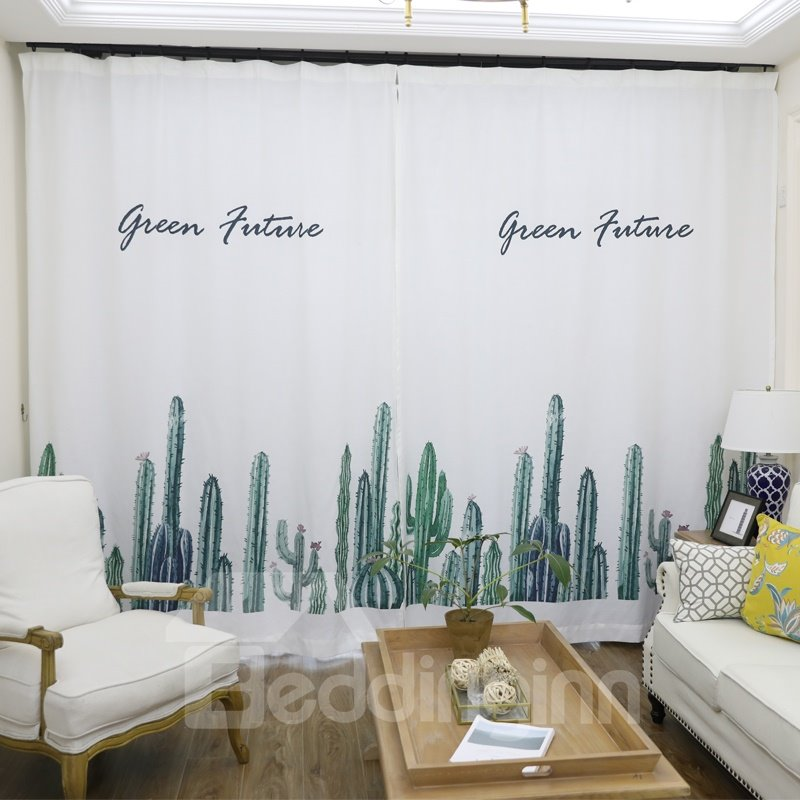 Blackout Watercolor Tropical Cactus Polyester Fabric Curtain