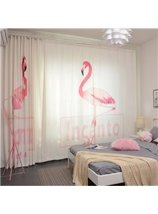 Polyester Fabric Cartoon Design Pink Flamingo Pattern Curtain