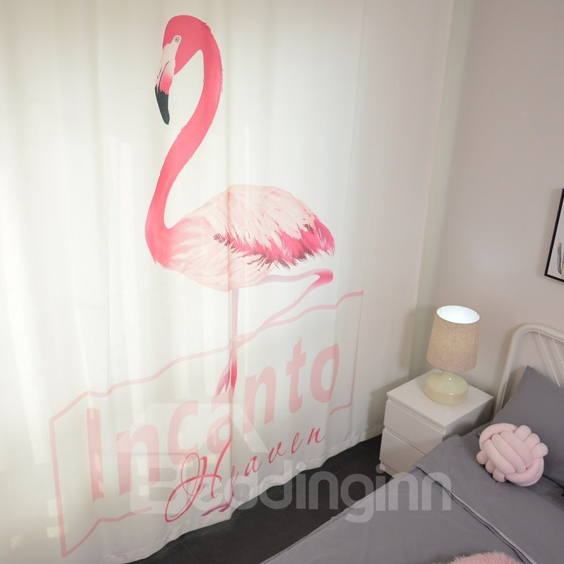 Polyester Fabric Cartoon Design Pink Flamingo Pattern Curtain