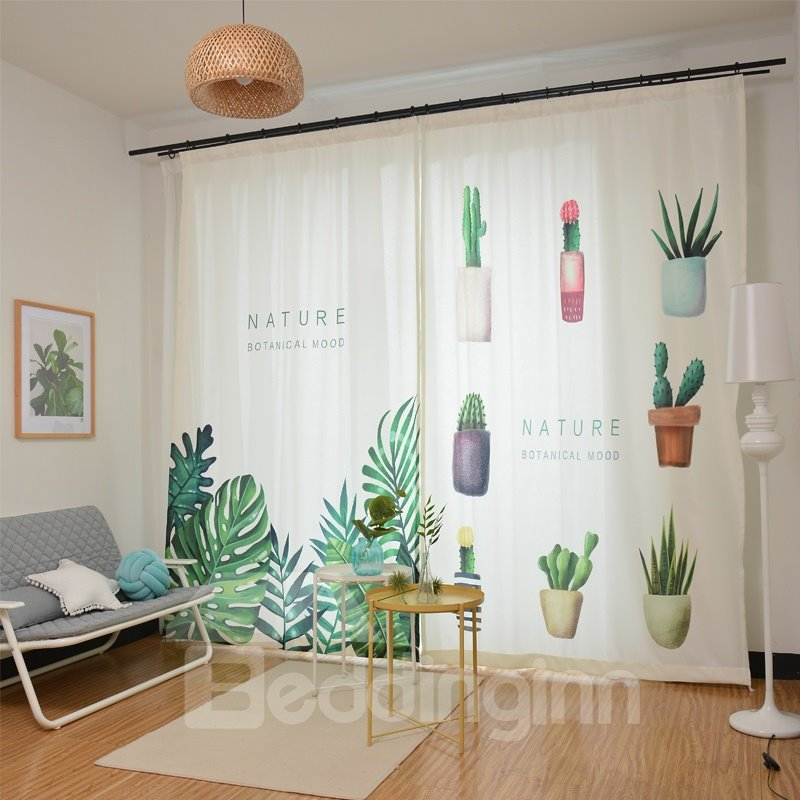 Blackout Green Tropical Plants Leaves Curtains