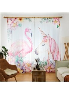 Waterproof Cartoon Flamingos and Unicorns Pattern Polyester Fabric Curtain
