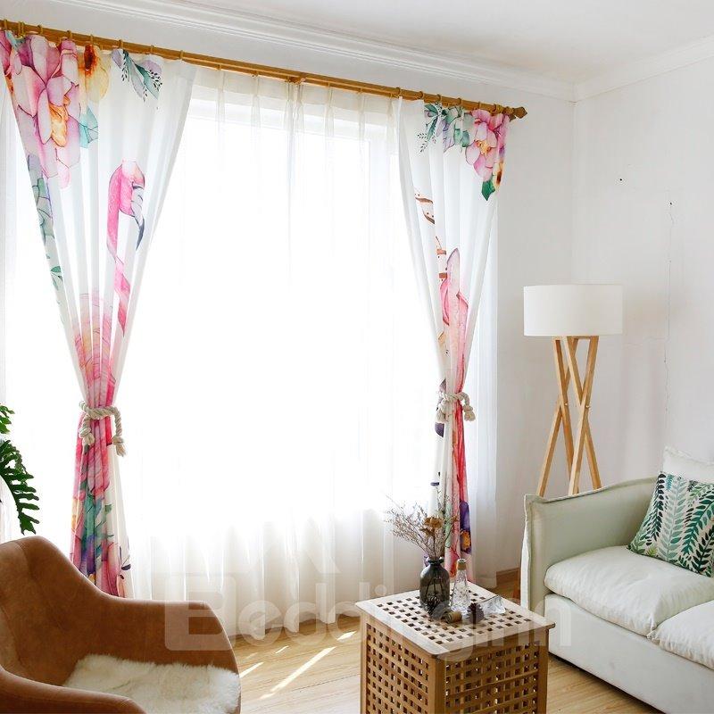 Waterproof Cartoon Flamingos and Unicorns Pattern Polyester Fabric Curtain