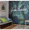 Blackout Watercolor Tropical Palm Tree Leaves Polyester Fabric Curtain