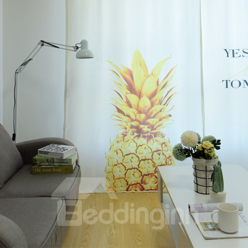 Blackout Simple Modern Gold Yellow Pineapples Pattern Polyester Fabric Curtain