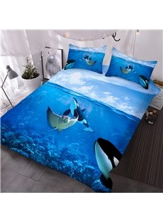 Creative 3D Printed Comforter Sets Ocean Bedding Set Hawaiian Vacation Style Duvet Cover Ocean Theme Starfish Shell Decor Comforter Cover Set For Adult Kids Teen There Are Four Sizes for You