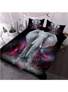 Elephant and Galaxy 3D Printed 3-Piece Comforter Sets