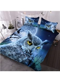 Owl Face with Full Moon Printed 3-Piece 3D Comforter Sets