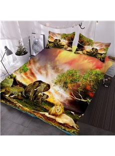 African Animals Flaming Clouds Natural Scenery 3-Piece 3D Comforter Sets