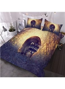 Adorable Raccoon Jungle Printed 3D Animal 3-Piece Comforter Sets