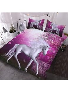 White Unicorn with Pink Roses Printed 3D 3-Piece Comforter Sets