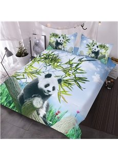 Panda on a Branch and Bamboo 3D Printed 3-Piece Comforter Sets