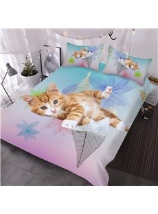 Kitten on the Leaves Printed 3D 3-Piece Comforter Sets