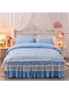 Skidproof Princess Lace Trimmed Comfortable Polyester Bed Skirt