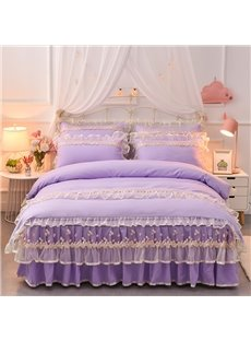 Romantic Princess Lace Skidproof Bed Skirt (Purple and Creamy White)