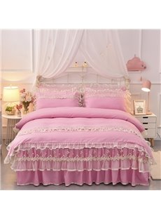Dreamlike Princess Lace Skidproof Polyester Fiber Girl Bed Skirt